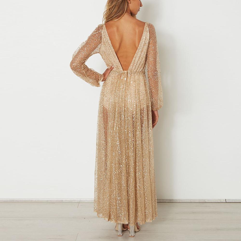Sexy Deep V Long-Sleeved Evening Dress – PINKSIA